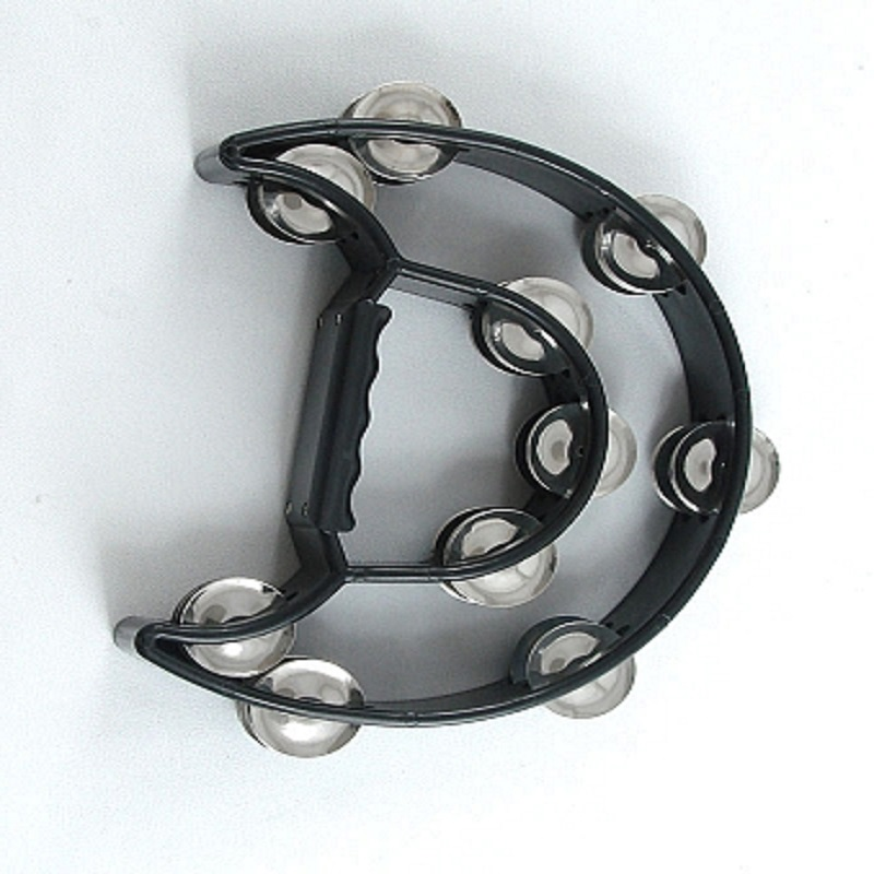 Professional Moon-Shaped Tambourine - Black
