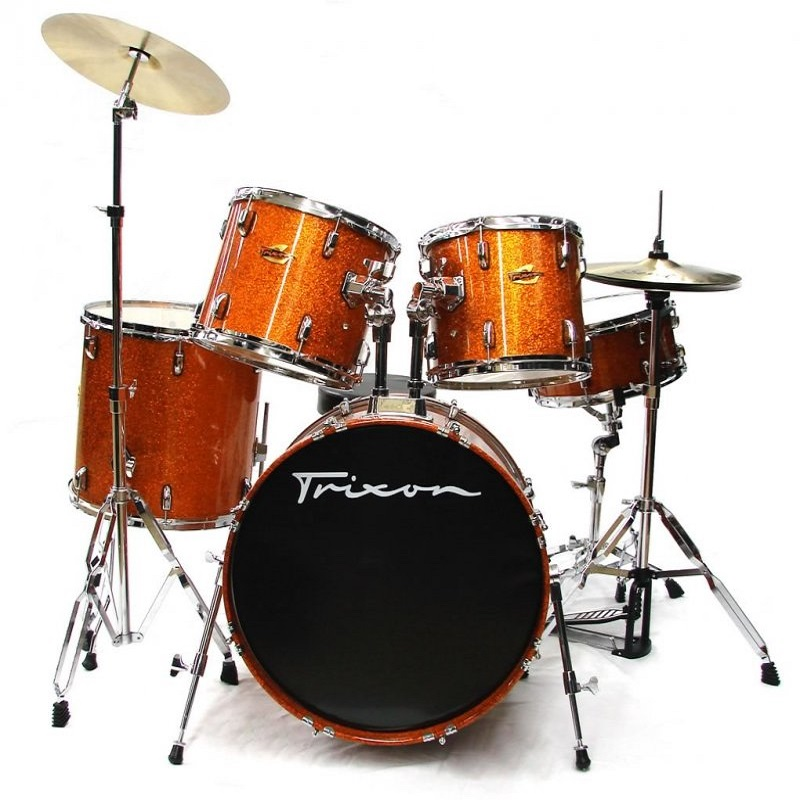 Trixon Hamburg Maple Drumset w/Cymbals & Throne - Orange Sparkle