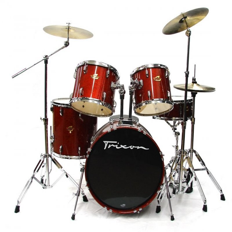 Luxus 200 Drumset w/Cymbals & Throne - Red Sparkle