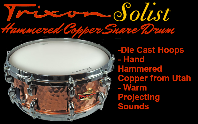 Trixon solist hammer copper snare drum for sale