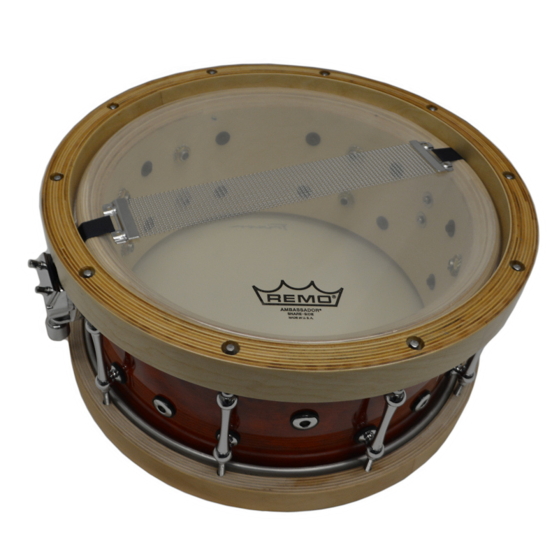 "Solist Elite Wood Shell Snare Vintage Orange Lacquer With Wood Hoops 14"" by 6.5"""